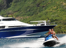 Cherter guests enjoying the luxury yacht toys