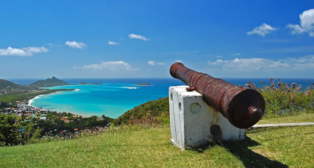 Caribbean coast view with canon