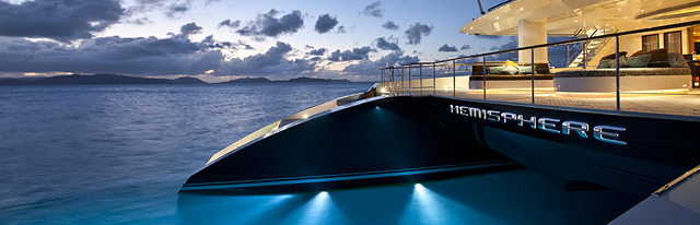 Catamaran Yacht Hemisphere name at night