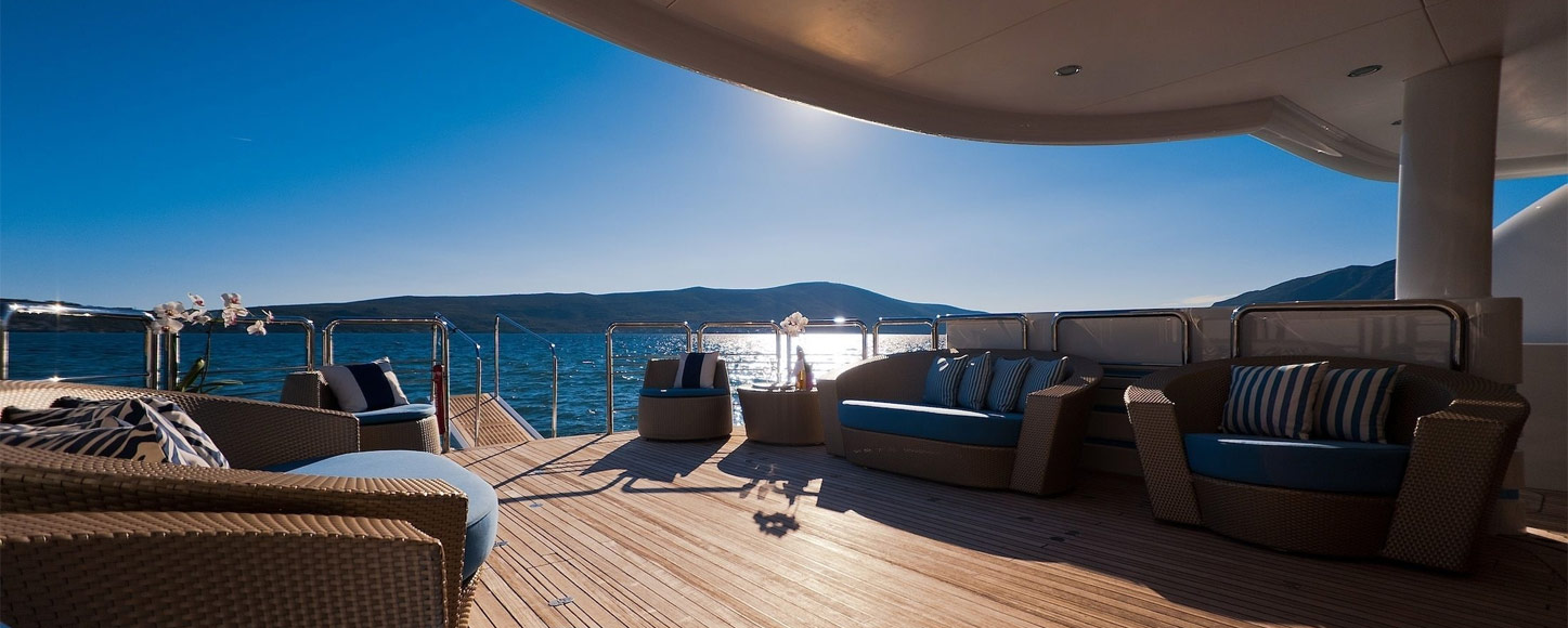 Main deck of Catamaran yacht Spirit