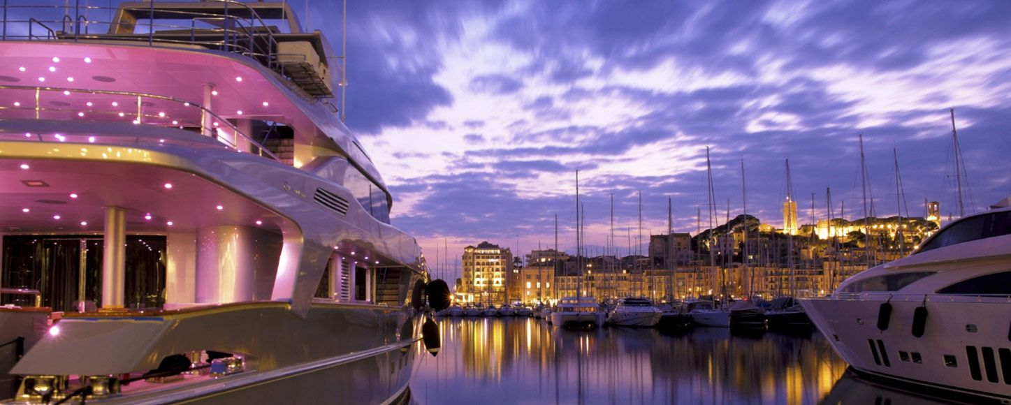 Cannes harbour at dusk