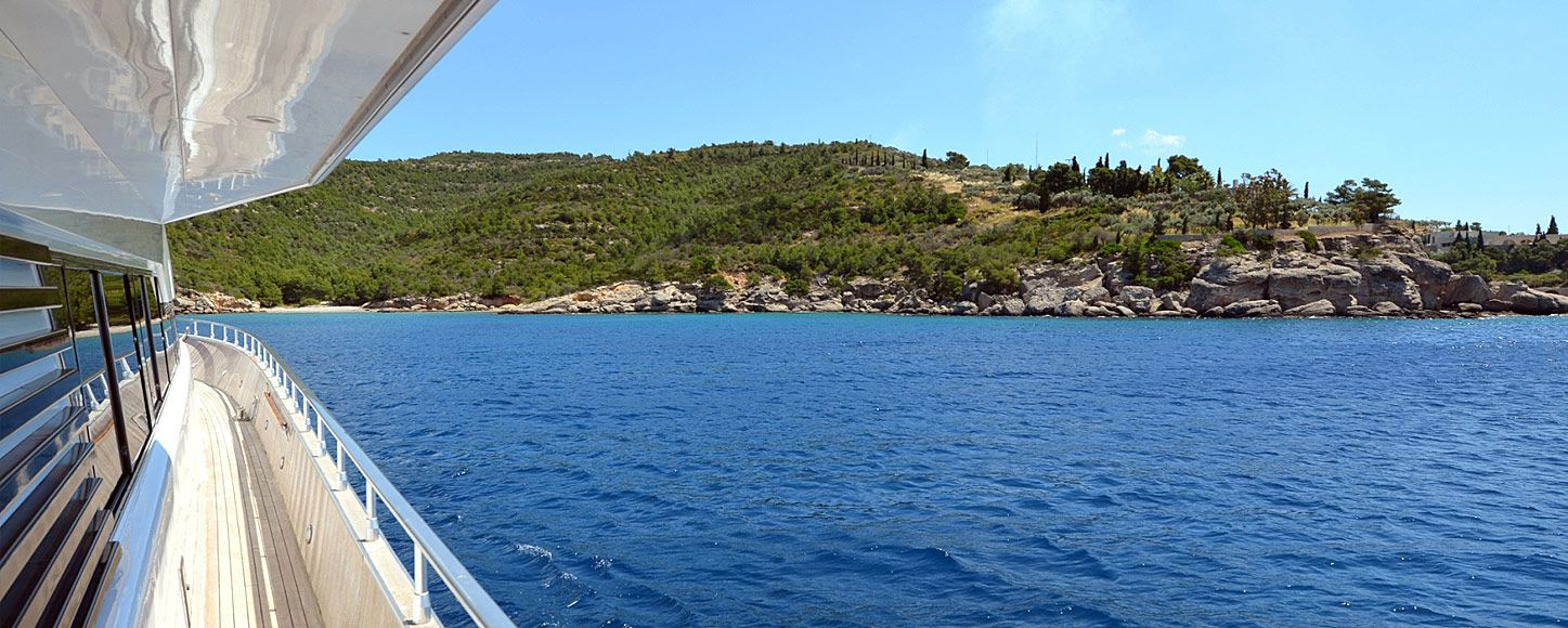 Charter expedition yacht near the Greek coastline