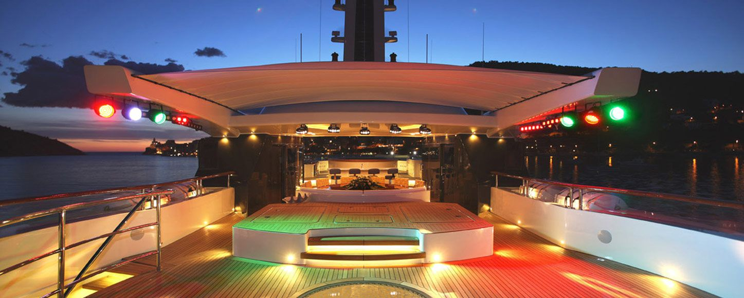 Outdoor disco on superyacht St Davids deck