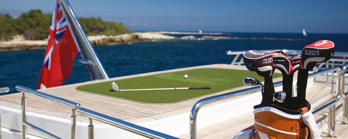 Golfing platform on a yacht deck