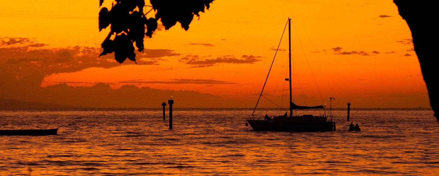 Sailing yacht at sunset