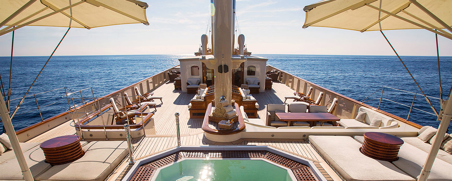 Classic yacht Nero on deck Jacuzzi