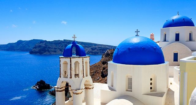 Santorini churches in Greece