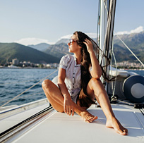Woman on a luxury sailing yacht