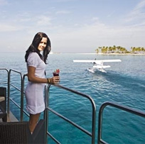 Woman on private balcony on a luxury yacht