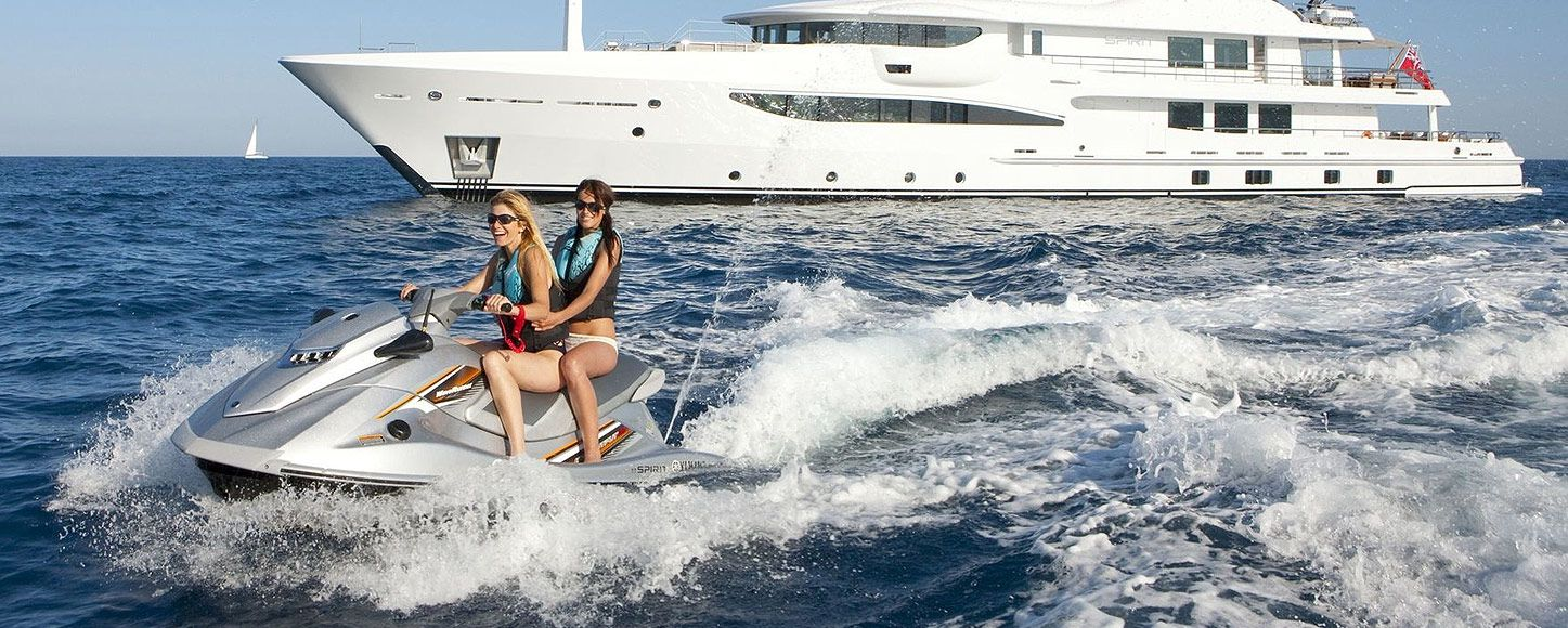 Charter yacht Spirit and her Jet ski