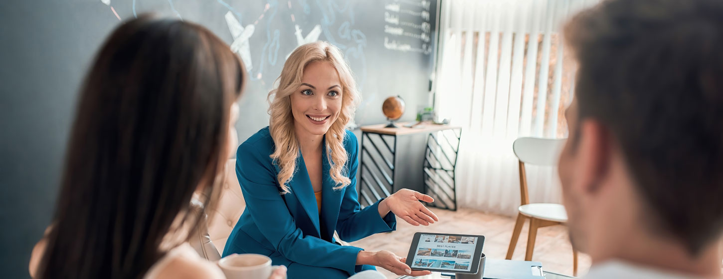 Couple meeting with a broker