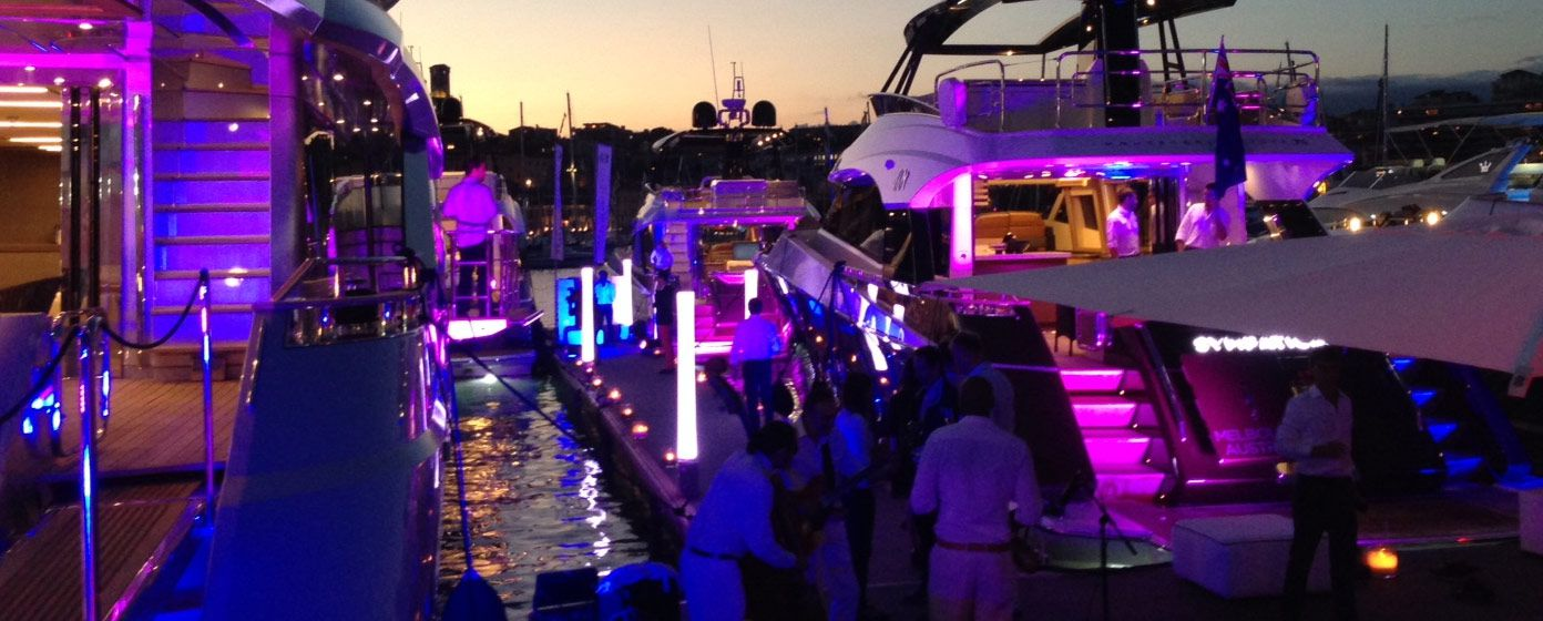 Superyachts lit up with LED's