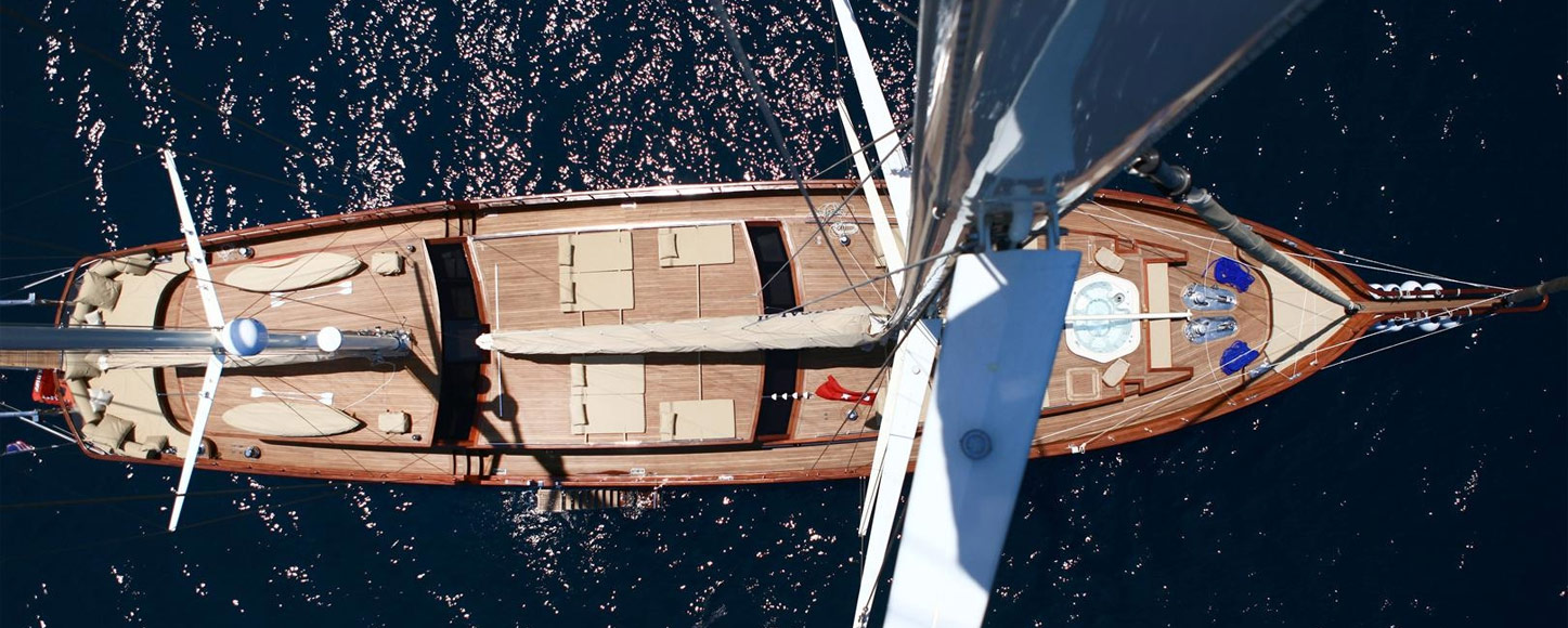 Luxury Gulet yacht Mezxal 2 view from the crow's nest