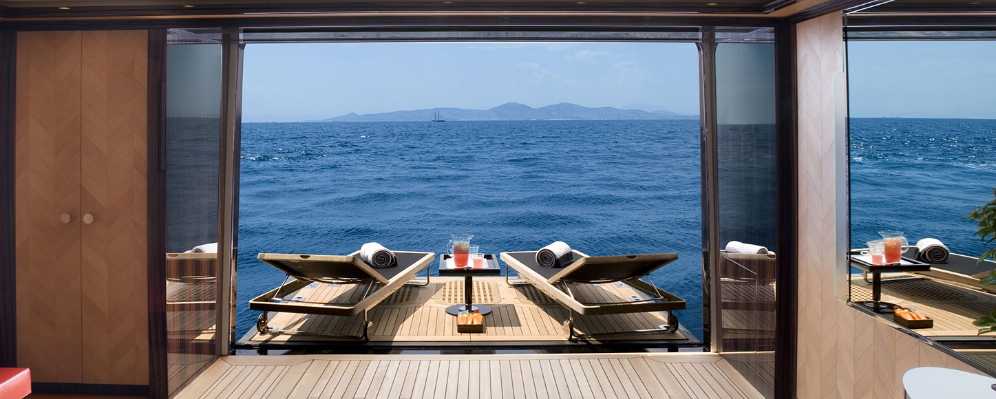 luxury Motor yacht charter Alfa Nero Private balcony