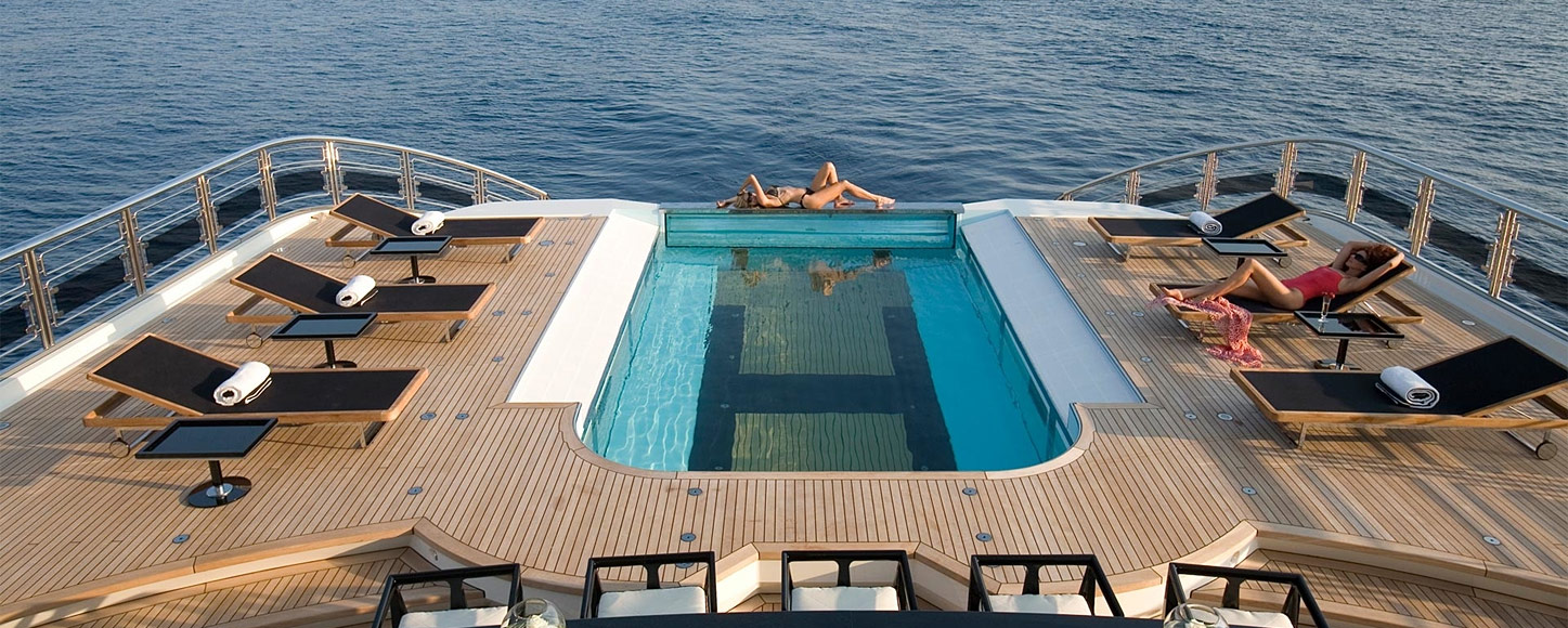 Luxury Motor yacht on deck pool