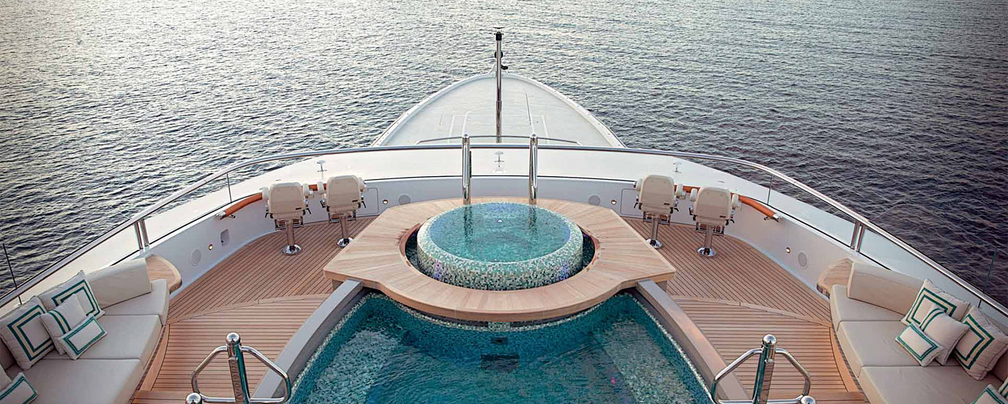 Luxury Motor yacht charter Kismet on deck Jacuzzi