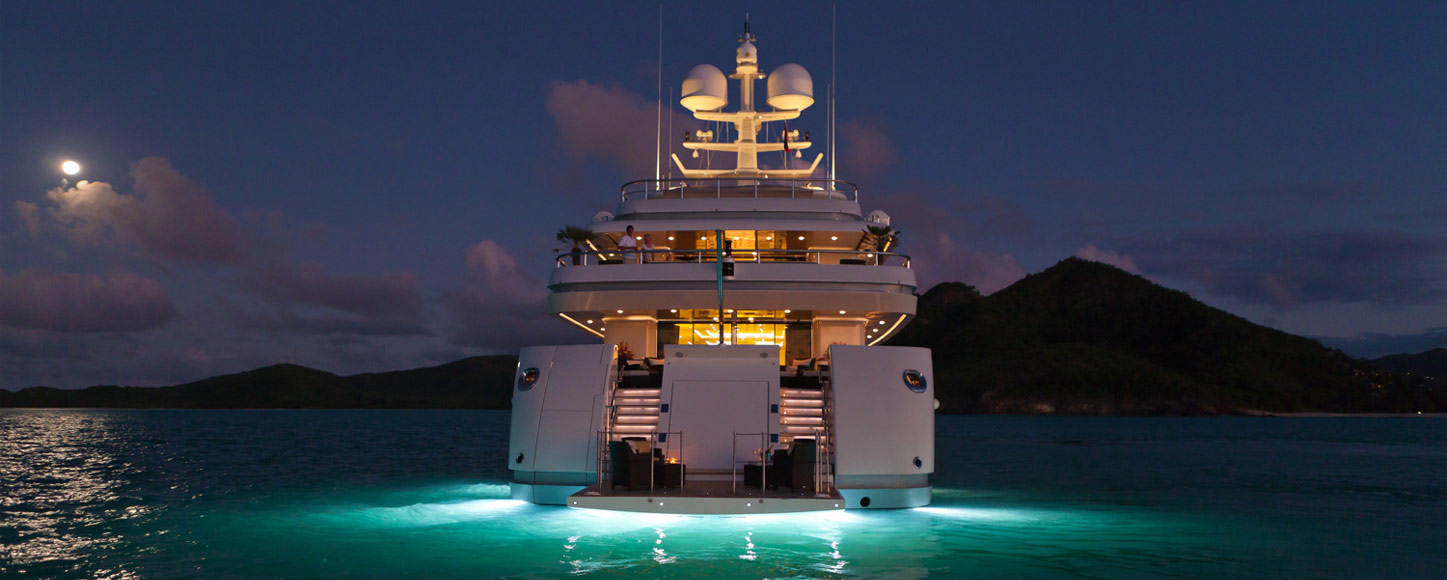 Luxury Motor yacht charter RoMa at night