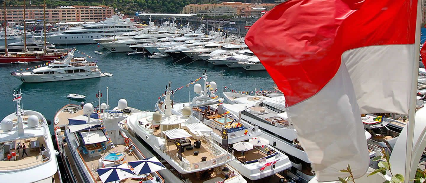 Close up of luxury charter yachts at Monaco Grand Prix