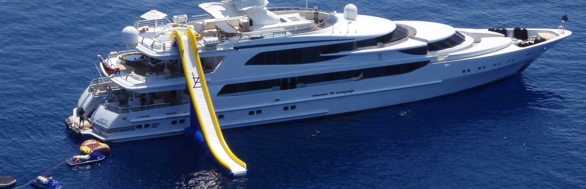 Charter Yacht Lazy Z with her waterslide