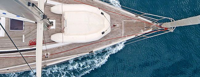 Sail yacht deck from above