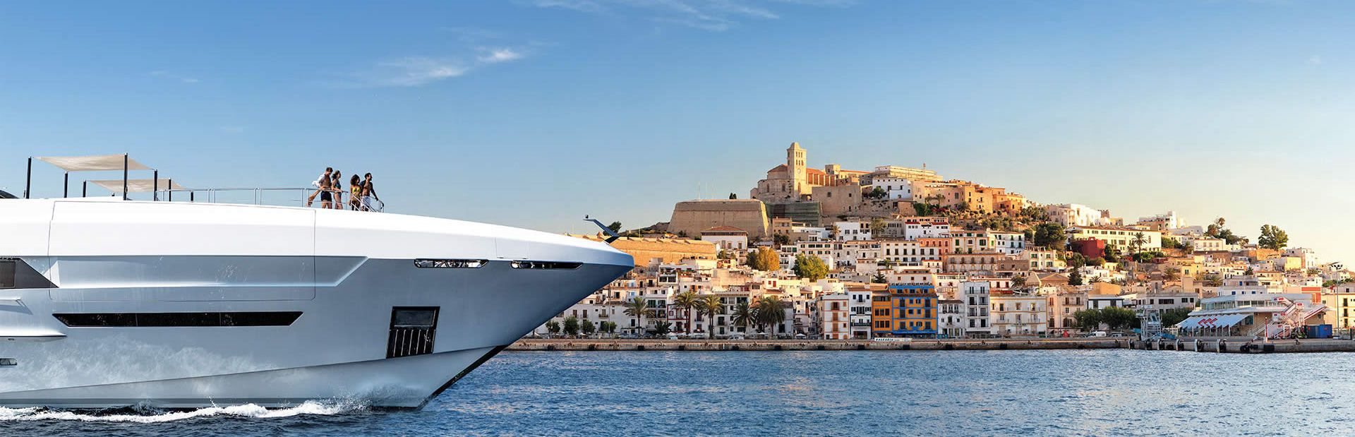 Superyacht being chartered at Ibiza