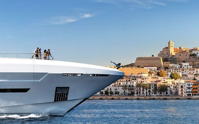 Superyacht arriving at Ibiza