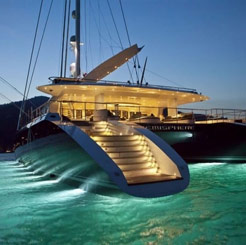 Stern view of catamaran yacht