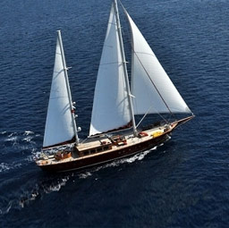 Aerial view of gulet yacht