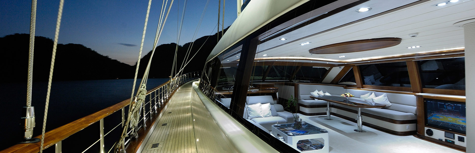 Gulet yacht Alessandro deck at night