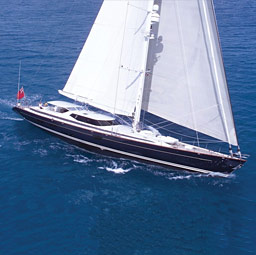 Aerial view of sail yacht